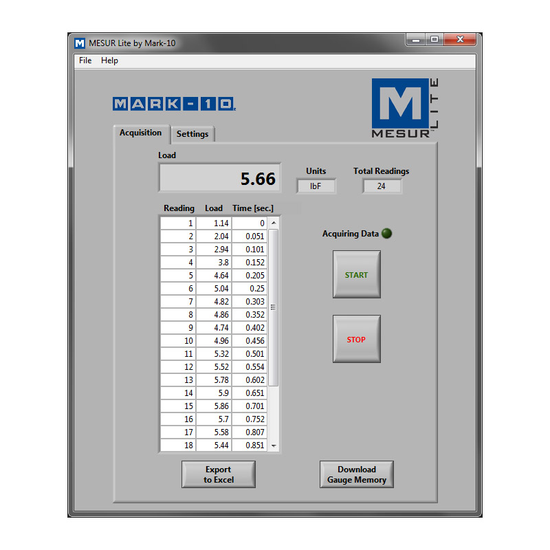 mark-10 software force measurement